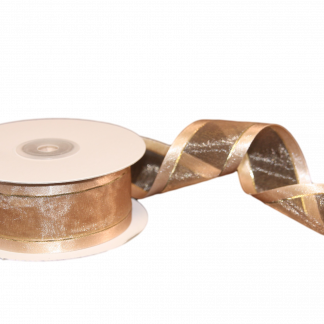 light gold organza ribbon with matching satin and metallic edge one and a half inches
